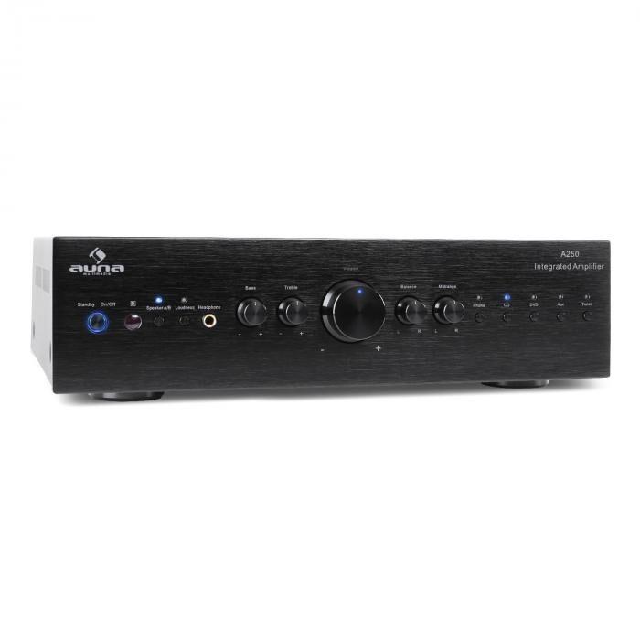 Auna CD708 amplificador hifi amplificador estéreo 600 W 5 entradas RCA negro