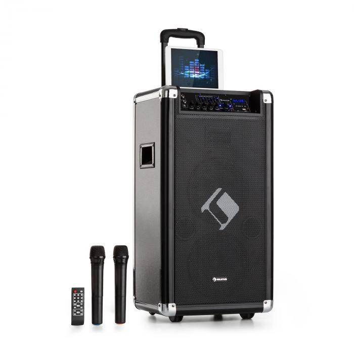 """Auna Moving 120 Equipo PA 2 x 8"""" subwoofers 60/200 W máx. VHF-Micro USB SD Bluetooth AUX móvil (PAS5- Moving-120)"""
