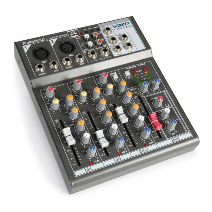 Vonyx VMM-F401  mixer de música de 4 canales USB-player AUX-IN +48V alimentación Phantom (Sky-172.575)
