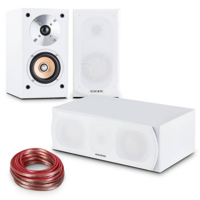 Auna Linie-501 set de altavoces 2 x altavoz de estantería - 1 x central - cable de 10m blanco (PL-28426-28429)