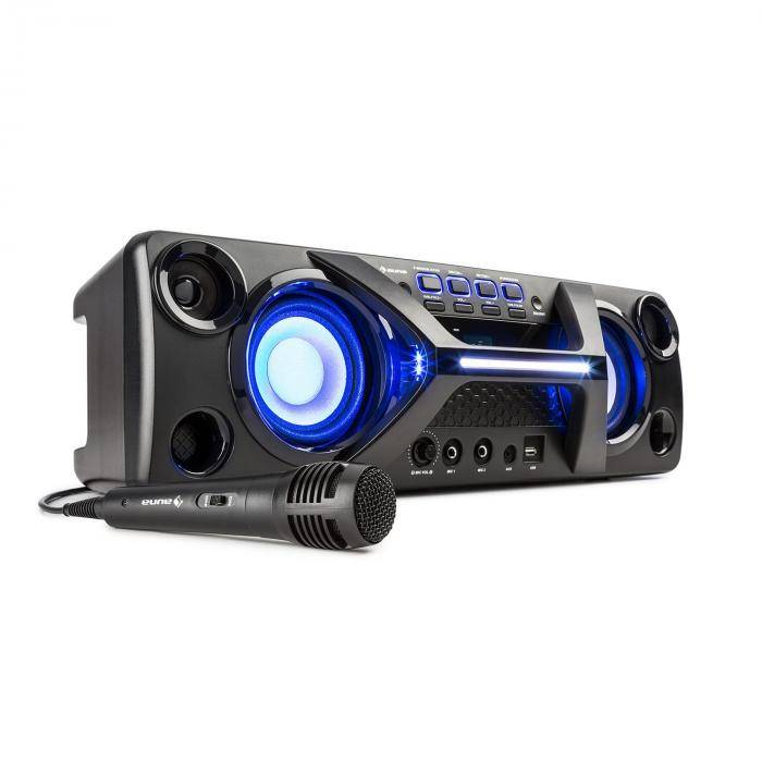 Auna Ultrasonic BT Boombox Bluetooth 2 x 20 W pantalla LCD  función Karaoke negro (KC13-Ultrasonic H550)