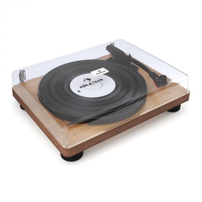 Auna TT Classic WD Tocadiscos retro USB Line-Out Altavoces chapa de madera