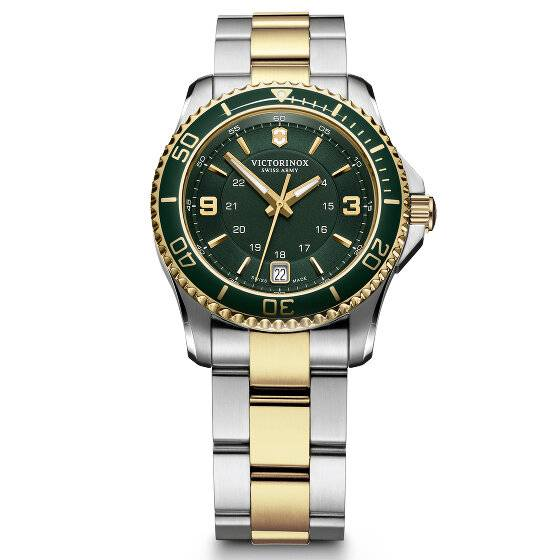 Victorinox Maverick Small Reloj de buceo acero inoxidable green silver gold