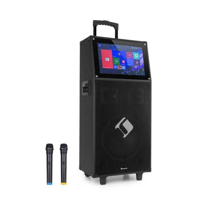 """Auna KTV Sistema de karaoke Pantalla táctil de 15,4"""" 2 micrófonos UHF WiFi BT USB SD HDMI Carrito (PAS5-1215dvd)"""