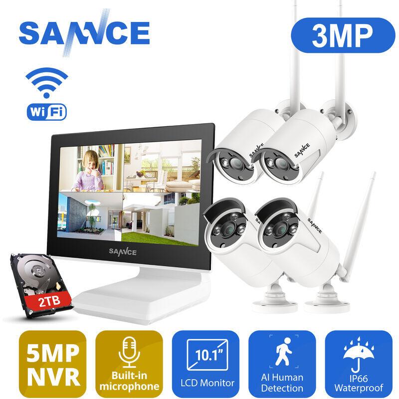 SANNCE Kit CCTV inalámbrico con pantalla LCD de 10.1 pulgadas videovigilancia