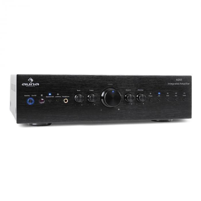 Auna CD708 amplificador hifi amplificador estéreo 600 W 5 entradas RCA negro (AV2- CD708 - Black)