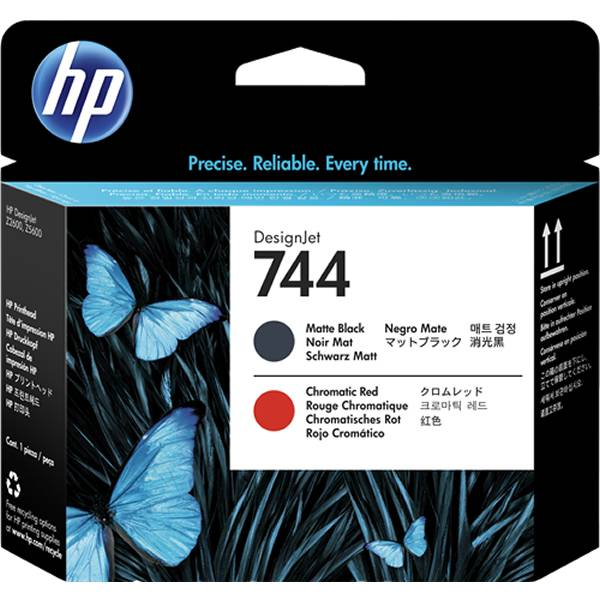 HP 744 - F9J88A cabezal de impresion negro mate y rojo cromatico