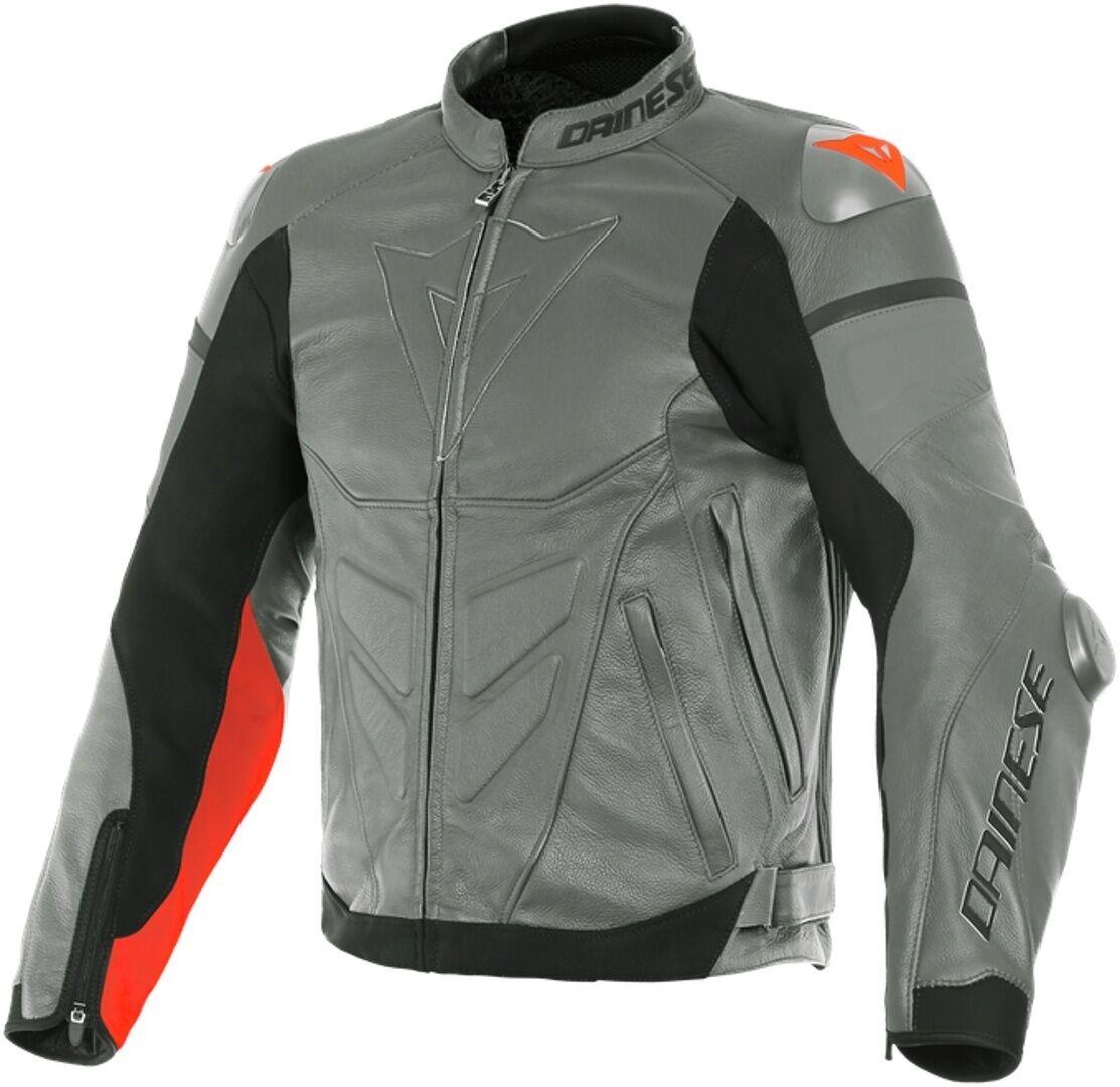 Dainese Super Race Chaqueta de cuero de motocicleta Gris Rojo 50
