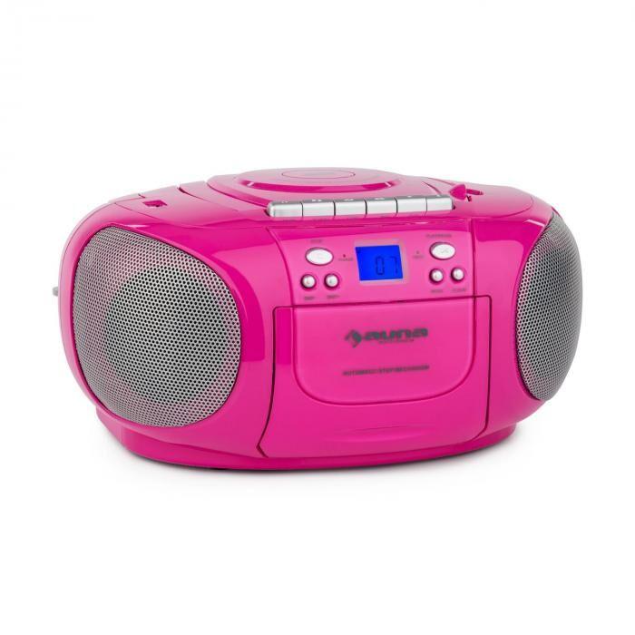 Auna BoomGirl Boom Box Ghettoblaster Radio reproductor CD/MP3 casete rosa (CS15-BoomGirl PK)