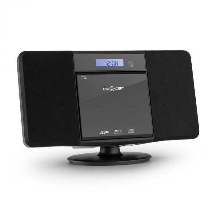 OneConcept V-13 Cadena estéreo CD MP3 USB Radio Despertador negra montaje mural (MG3-V13-BL)