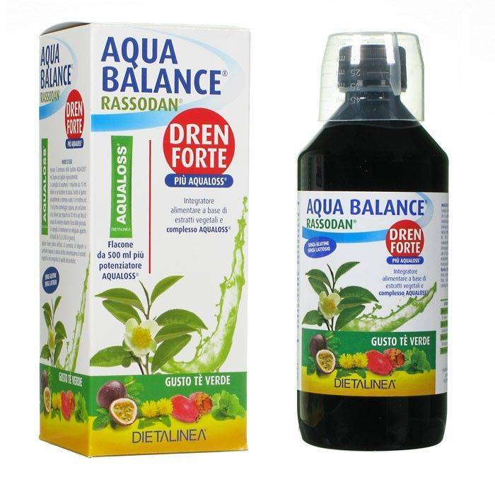 GDP Srl-GENERAL DIETET.PHARMA Dietalinea Aqua Balance Rassodan Dren Strong Green Tea con Aqualoss Food Supplement 500ml + 1 paquete de 2.8g