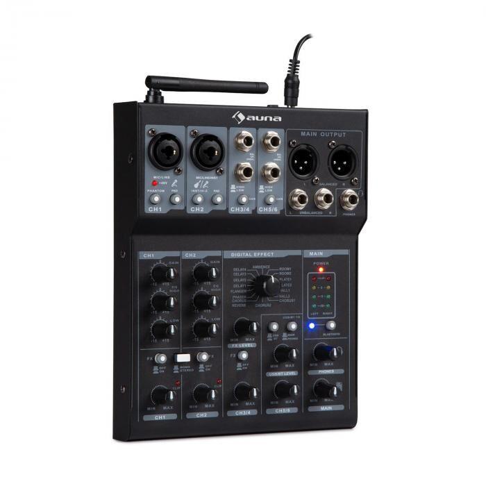 Auna Blackbird Mesa de mezclas de 6 canales Bluetooth USB MP3 2 Micrófonos XLR Negro (DJMM2-MX-6UBT)