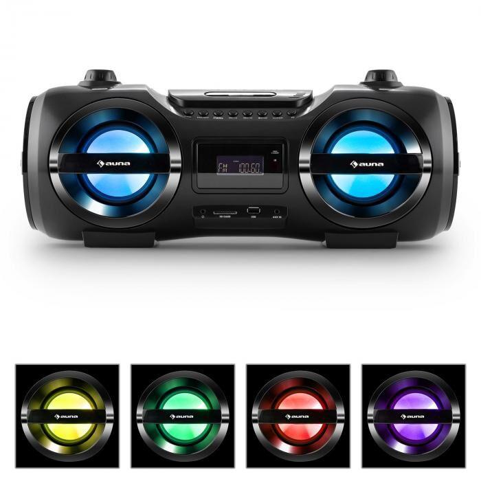 Auna Soundblaster M Boombox Bluetooth 3.0 CD/MP3/USB FM LED 25W RMS