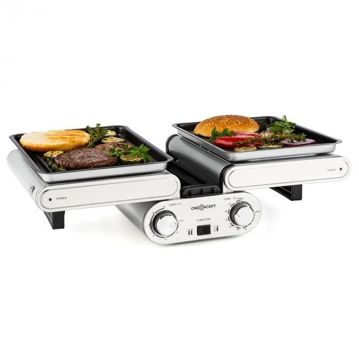 OneConcept Butterfly grill multifunción para mesa eléctrico 1200 W 240ºC Timer