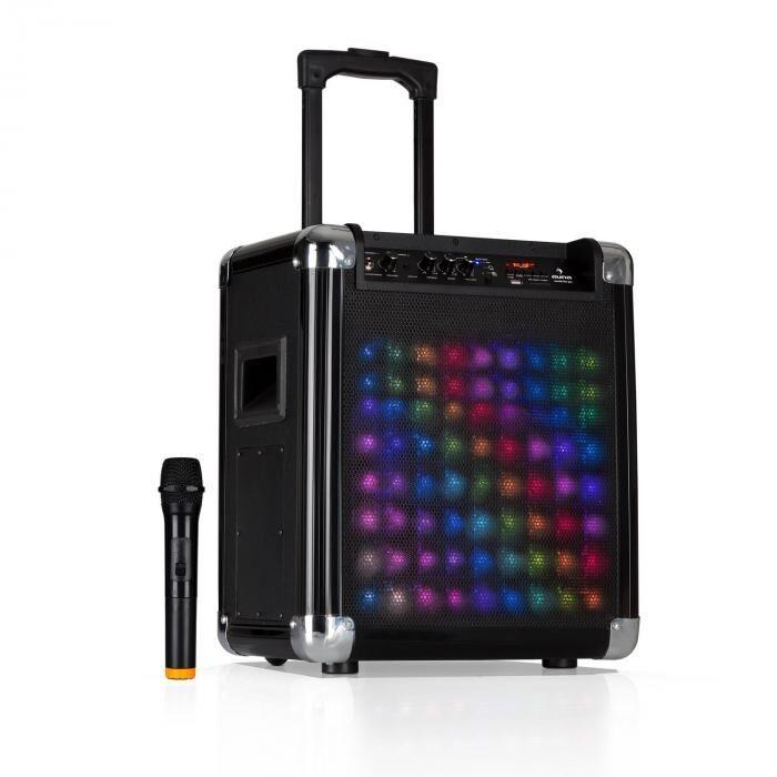 """Auna Moving 80.2 LED Sistema PA Woofer 8"""" 100 W máx. VHF-Micro USB SD Bluetooth AUX Móvil (FS-801L)"""