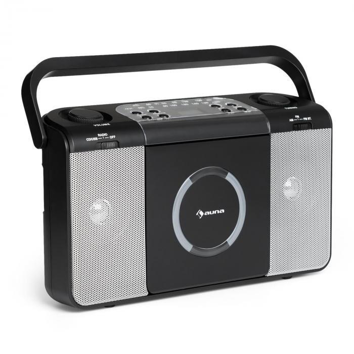 Auna Boomtown USB Reproductor de CD Radio FM MP3 portátil Boombox negro (CS13-Boomtown BK)