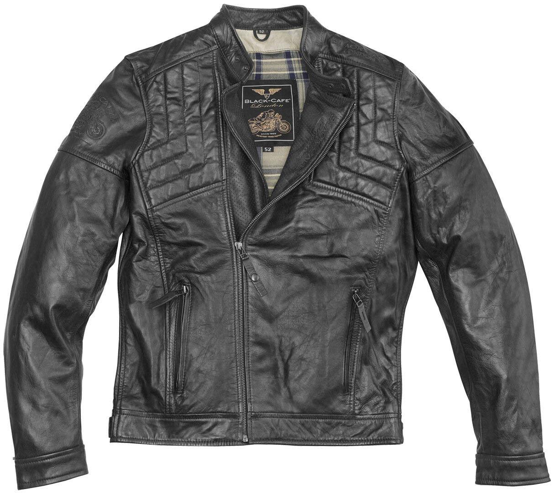 Black-Cafe London Philadelphia Chaqueta de cuero de motocicleta Negro 52