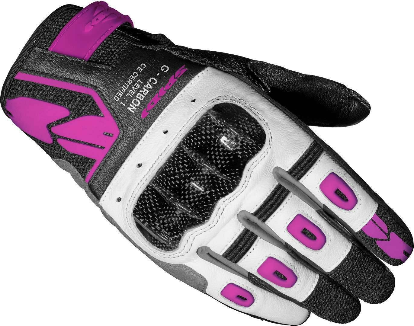Spidi G-Carbon Botas de moto para mujer Negro Blanco Rosa L