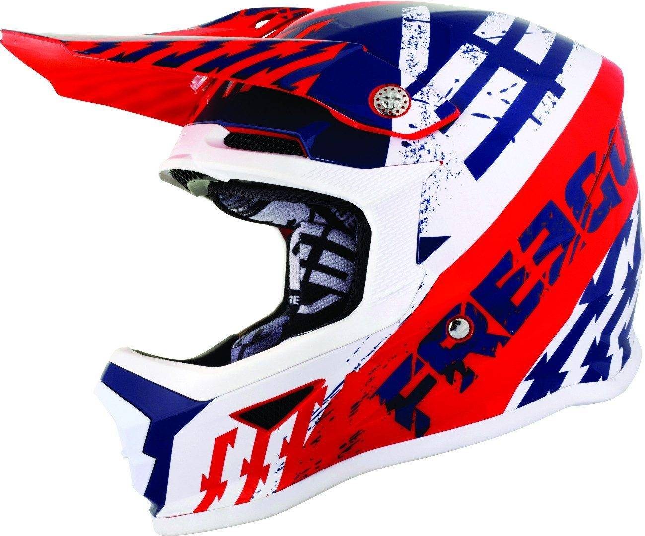 Freegun XP4 Outlaw Casco de Motocross de los niños Blanco Rojo Azul L