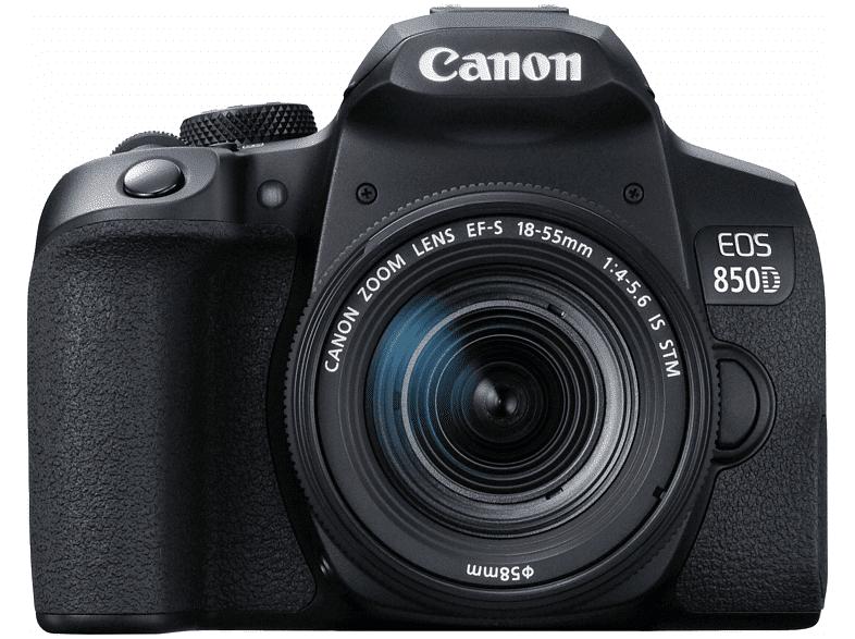 Canon Cámara réflex - Canon EOS 850D, 24.1 MP, 25 fps 4K, WiFi, 18-55mm, Negro