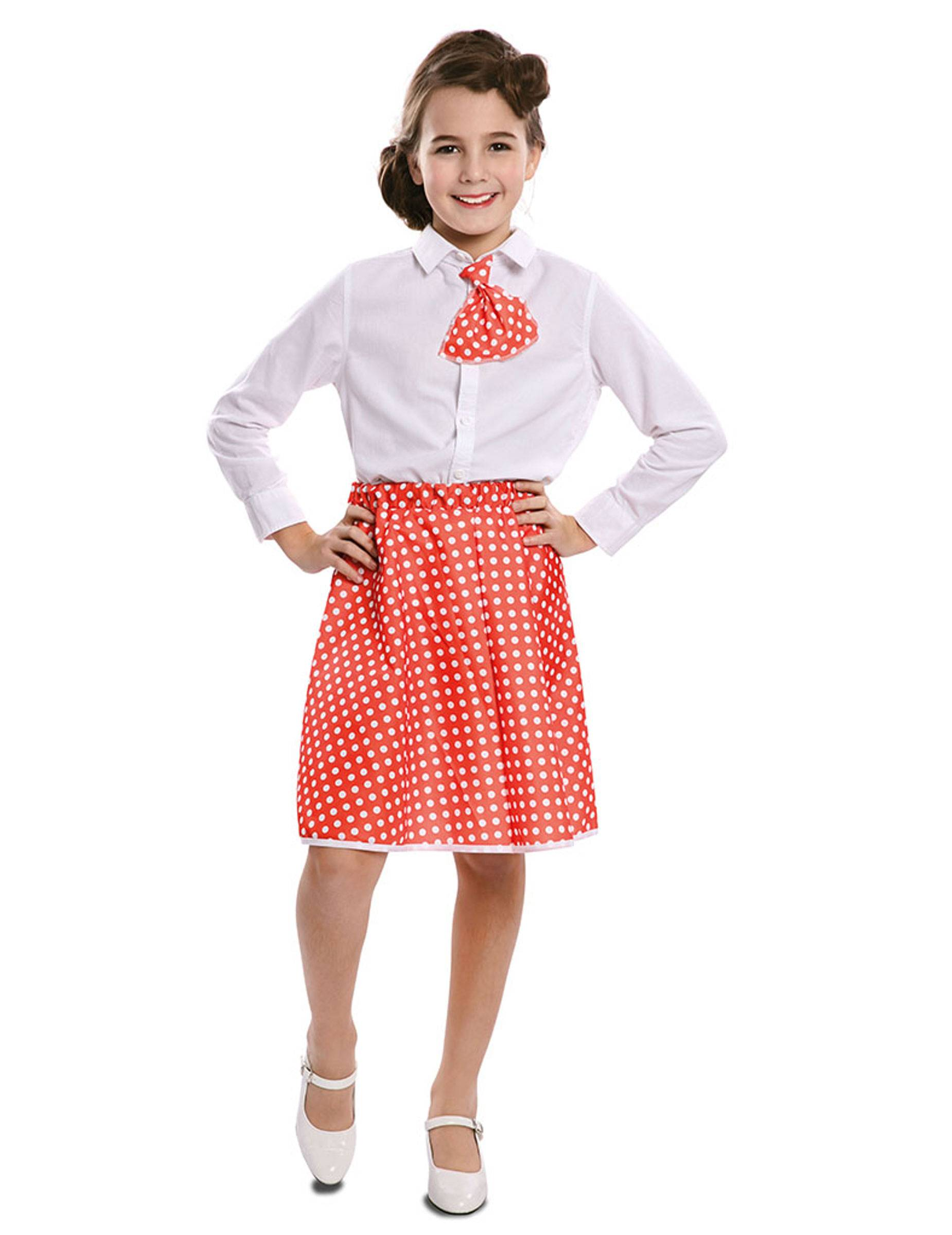 Vegaoo.es Falda con pañuelo pin up rojo niña - 7 à 9 ans (122-138 cm)