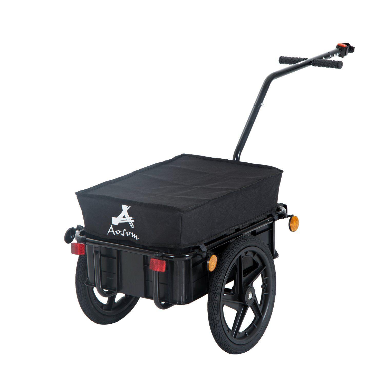HOMCOM Remolque De Bicicleta Negro Acero