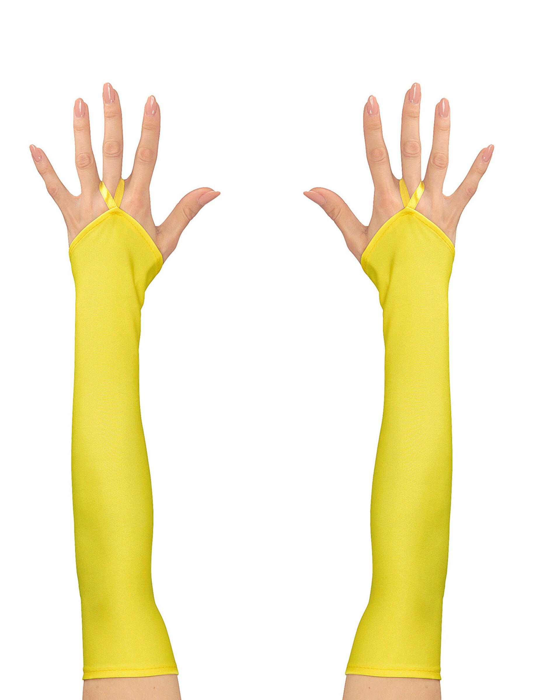 Vegaoo.es Mitones largos amarillo fluorescente mujer