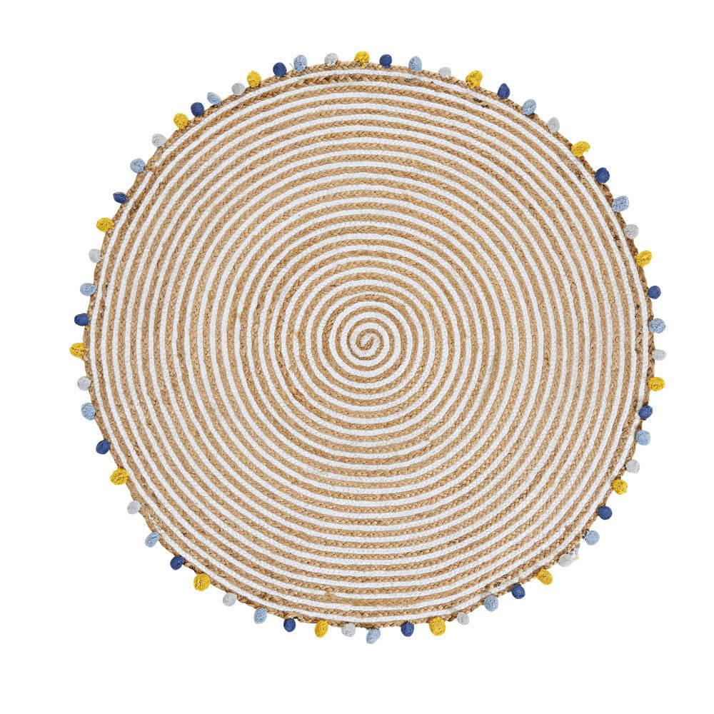 Maisons du Monde Alfombra de algodón y yute con borlas multicolores D.100