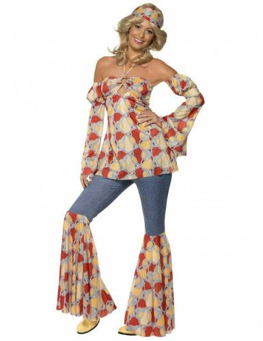 Disfraz de hippie años 70 para mujer M