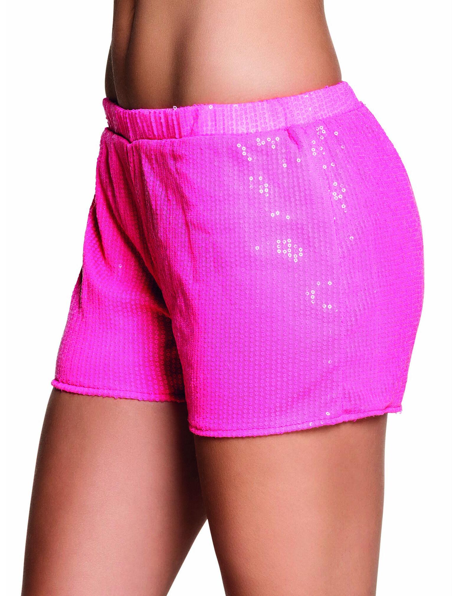 Vegaoo.es Pantalón corto lentejuelas rosa fluorescente mujer