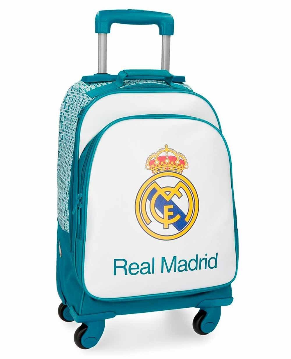 Real Madrid Leyenda Trolley convertible en mochila con ruedas Azul Pacífico