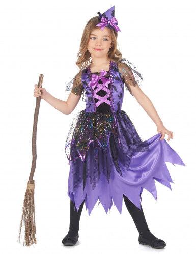Disfraz de bruja con polvo de estrellas para niña XS 3-4 años (92-104 cm)