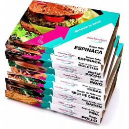 Meat Protein Pack 9 Bandejas De 4 Hamburguesas/Platos Sabor Hamburguesa de Pollo-Jamón Iberico