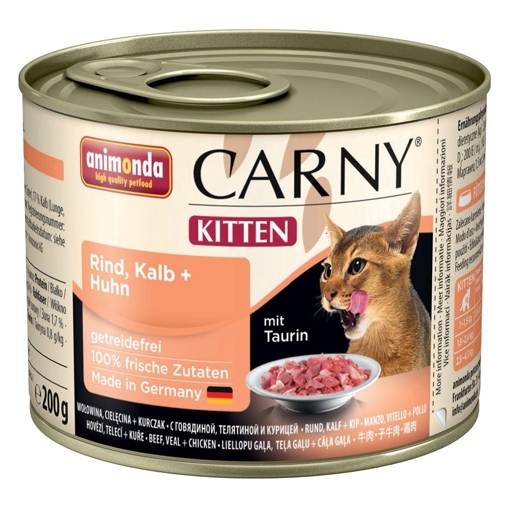 Animonda Carny Kitten 12 x 200 g - Pack de prueba - 4 variedades con vacuno y ave