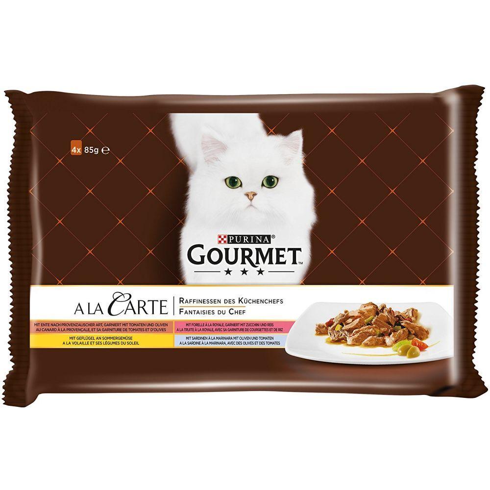Gourmet 4 x 85 g  A la Carte en sobres - Las fantasías del Chef comida húmeda para gatos