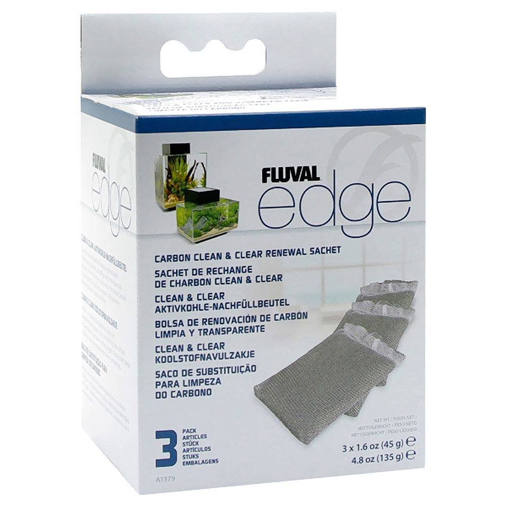 Fluval Filtros de carbón activo  Edge - 1 paquete de 3