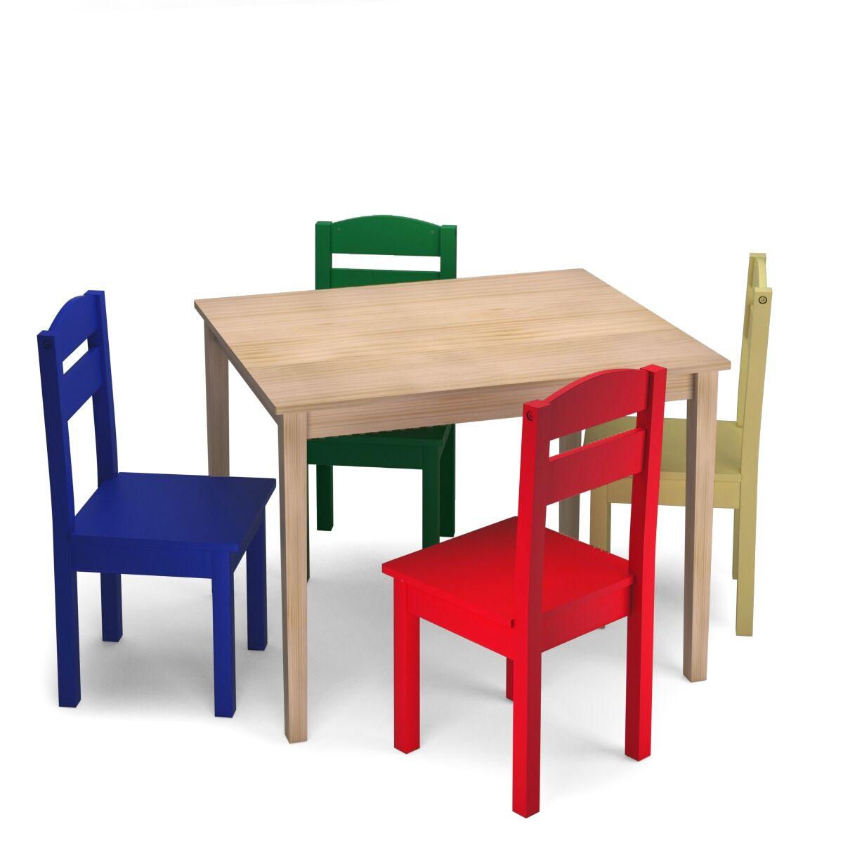 Costway Juego Mueble para Niños Mesa y 4 Sillas de Madera Escritorio para Infantil Dormitorio Sala de Juego Multicolor