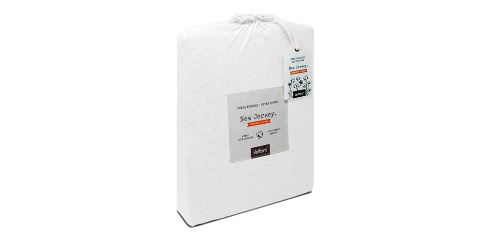 Velfont Funda Nórdica Bicolor Velfont en 100% Algodón Jersey medida de 240X220 (Cama 150),color Blanco