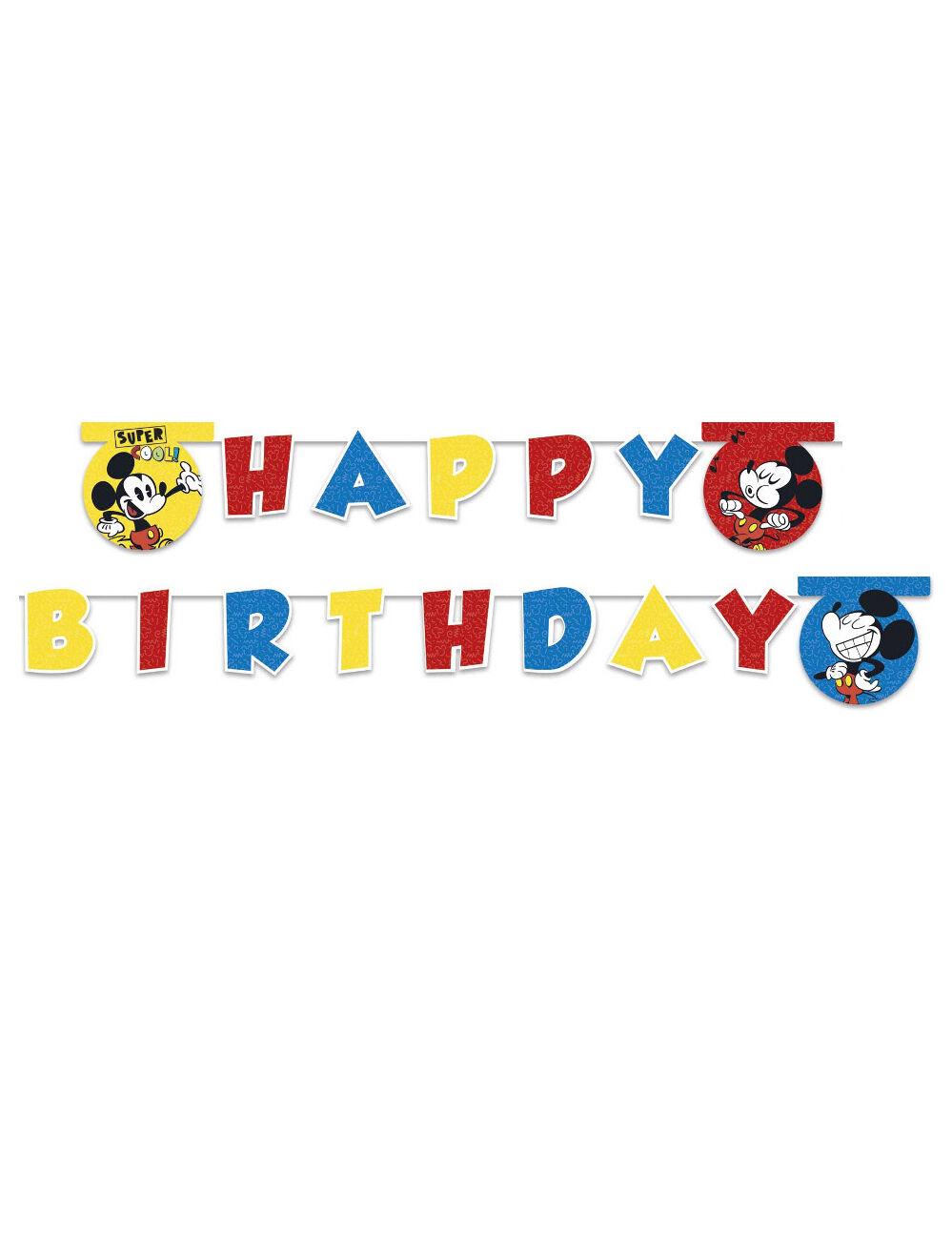 Vegaoo.es Guirlanda Happy birthday Mickey Mouse super cool 2 m