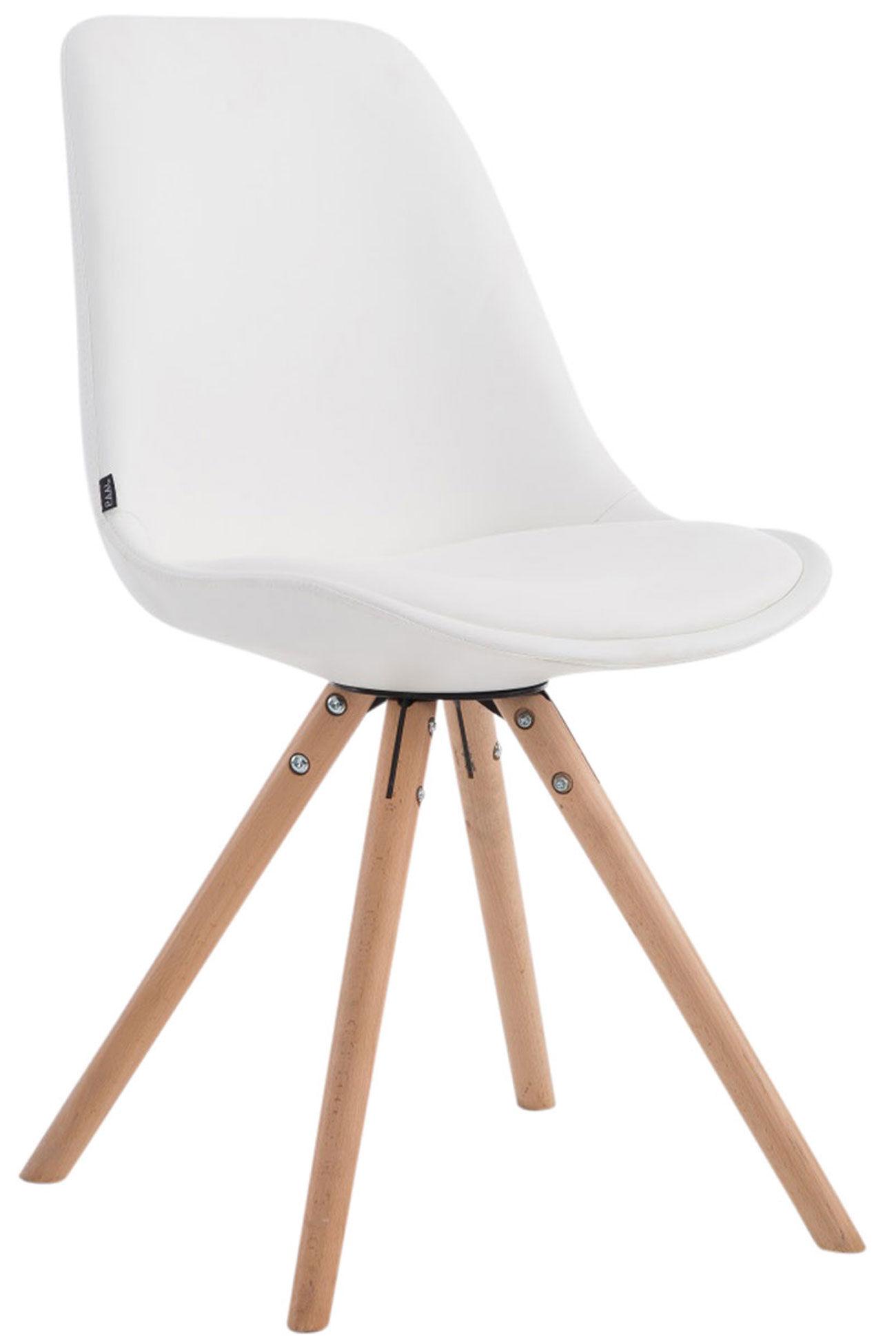 CLP silla de visita Laval con soporte redondo y color madera natural, blanco  blanco, altura del asiento