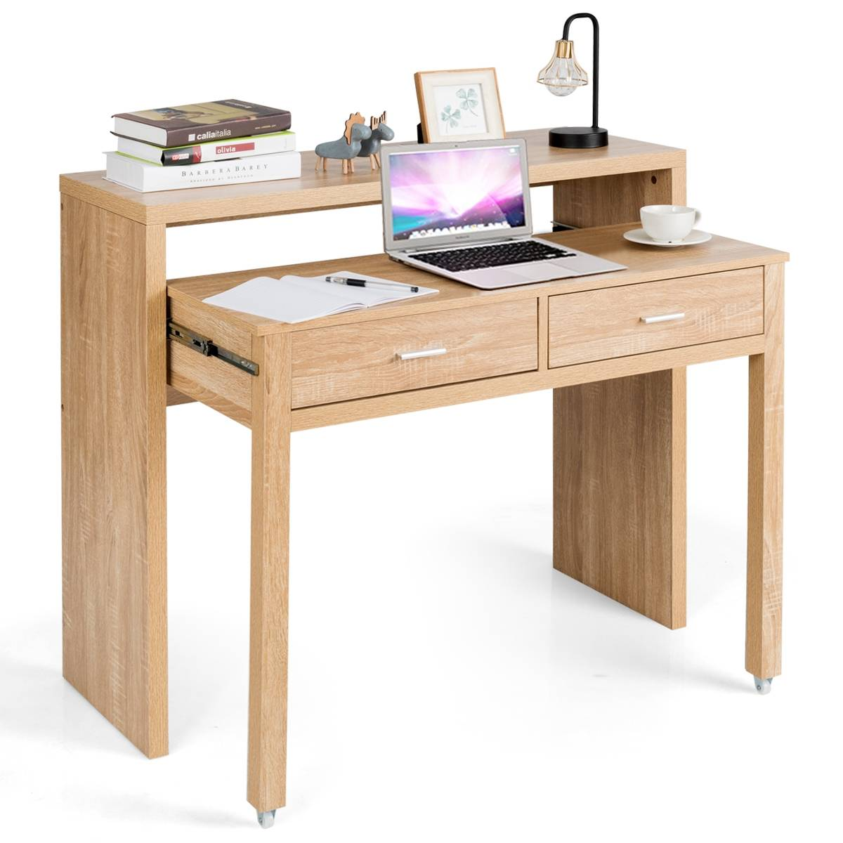 Costway Escritorio Extensible con 2 Cajones Mesa para Ordenador Mesa Consola de Madera para Trabajo Estudio Casa Oficina