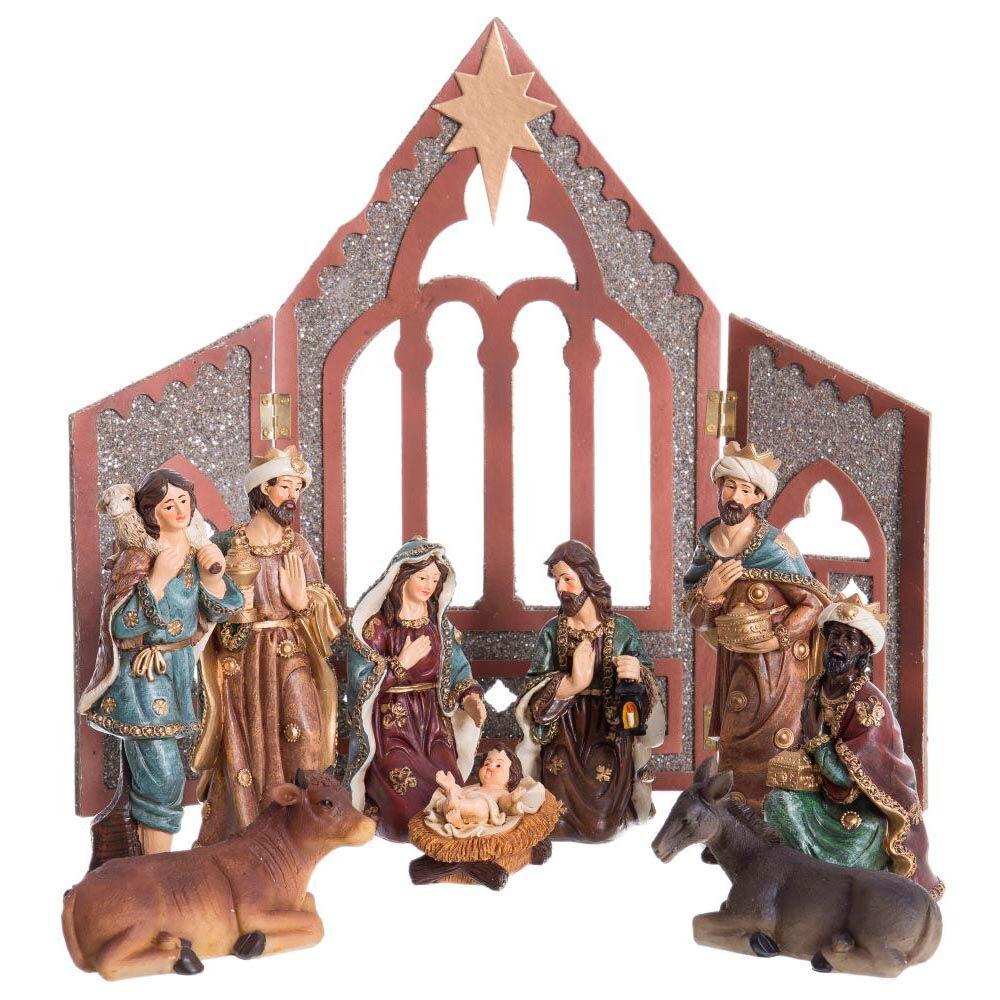 LOLA home Belén de Navidad con portal plegable y 9 figuras de resina de 20 cm.
