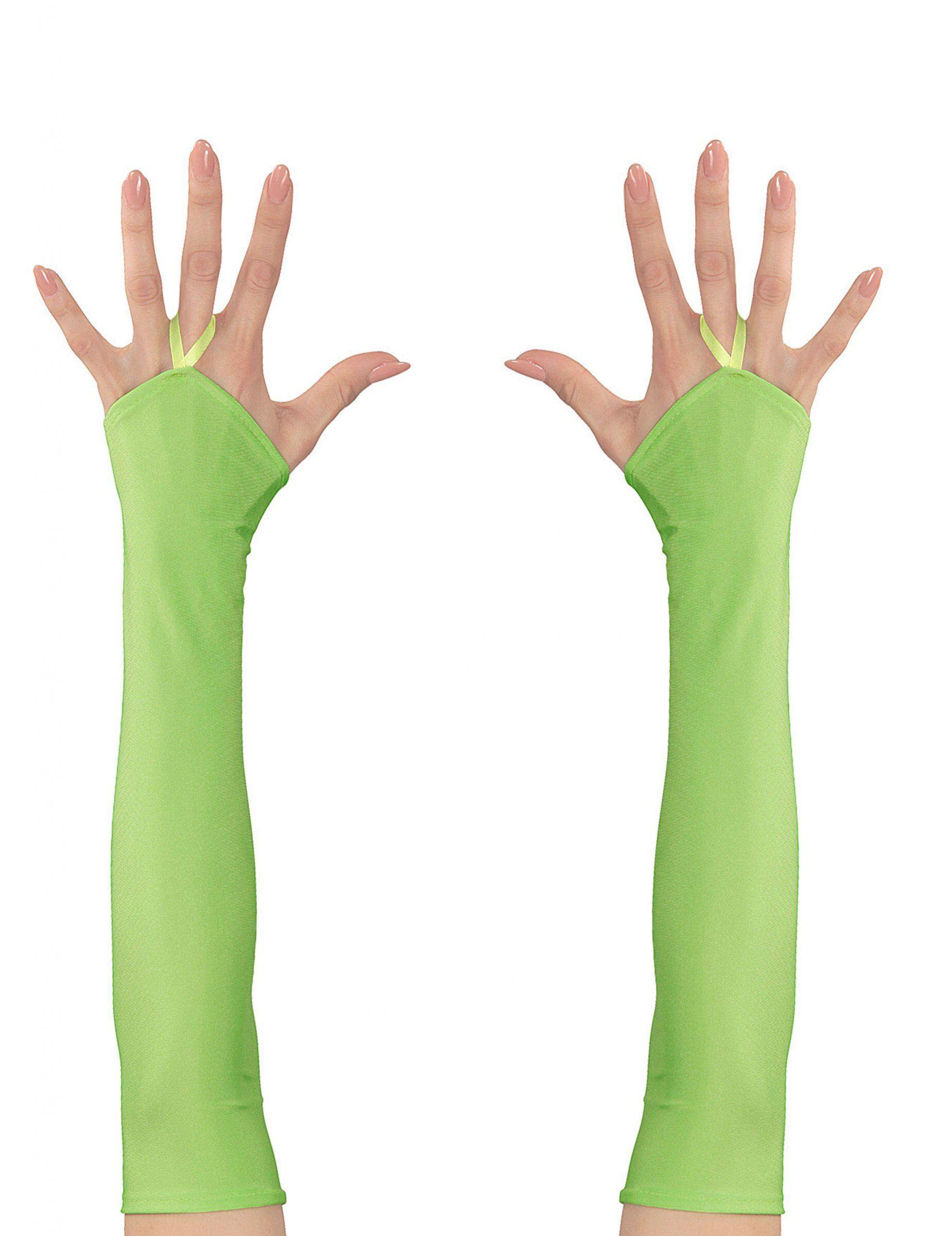Vegaoo.es Mitones largos verde fluorescente mujer