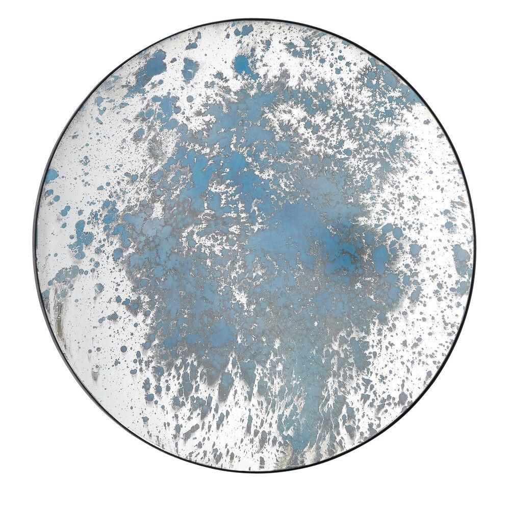 Maisons du Monde Espejo redondo con efecto pintura azul y metal negro D100