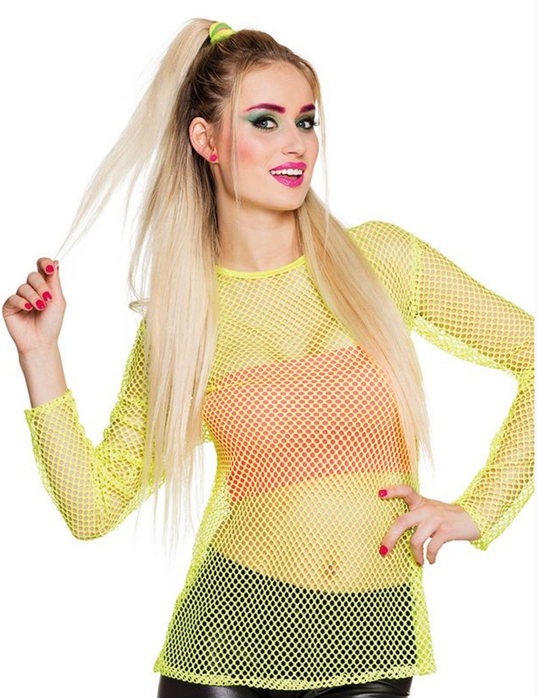Vegaoo.es Camiseta amarillo fluorescente años 80 mujer