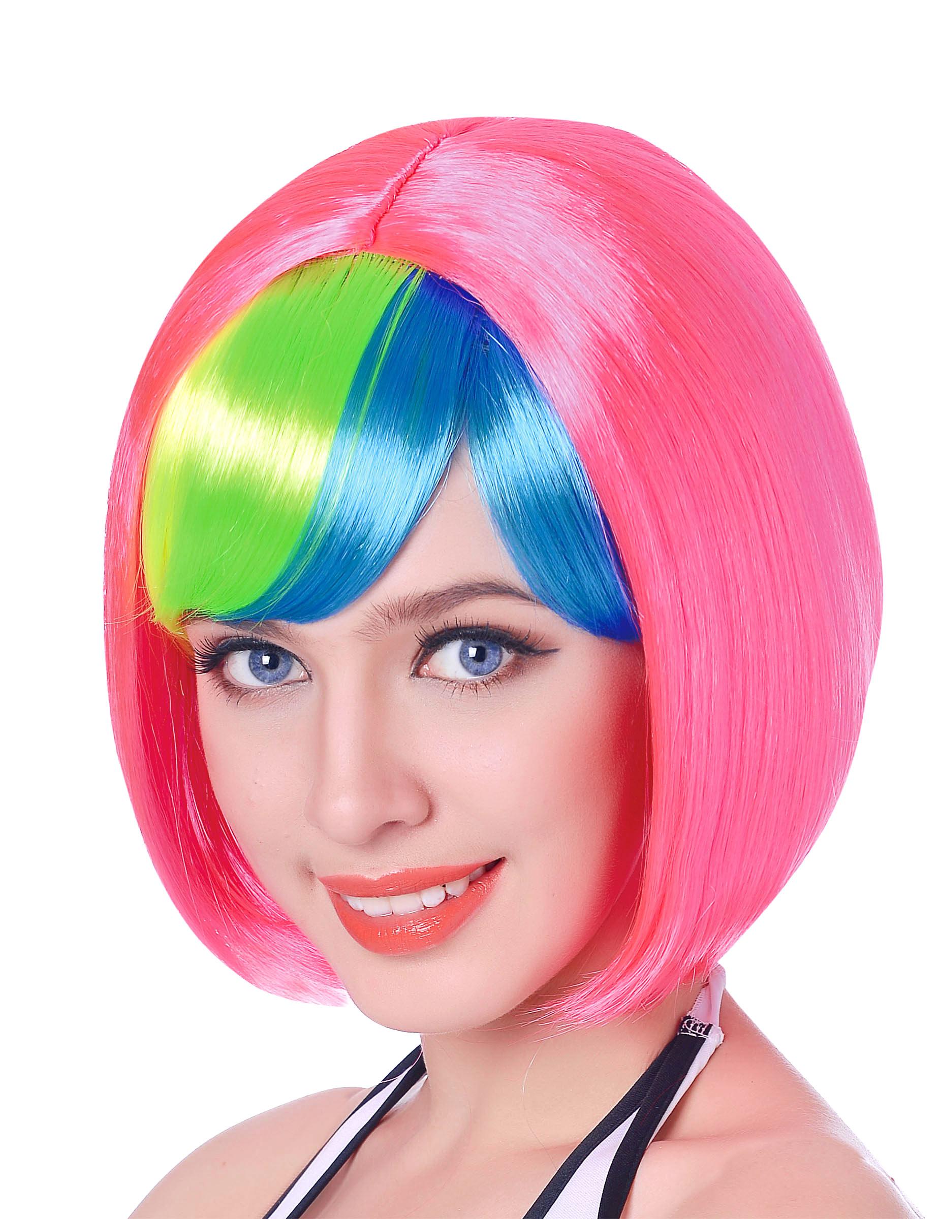 Vegaoo.es Peluca corta rosa flequillo fluorescente mujer 110 g