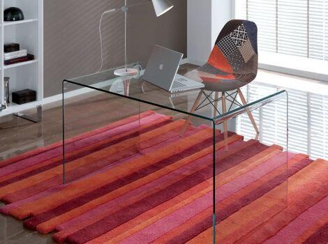 Mesa escritorio cristal curvado 126x70
