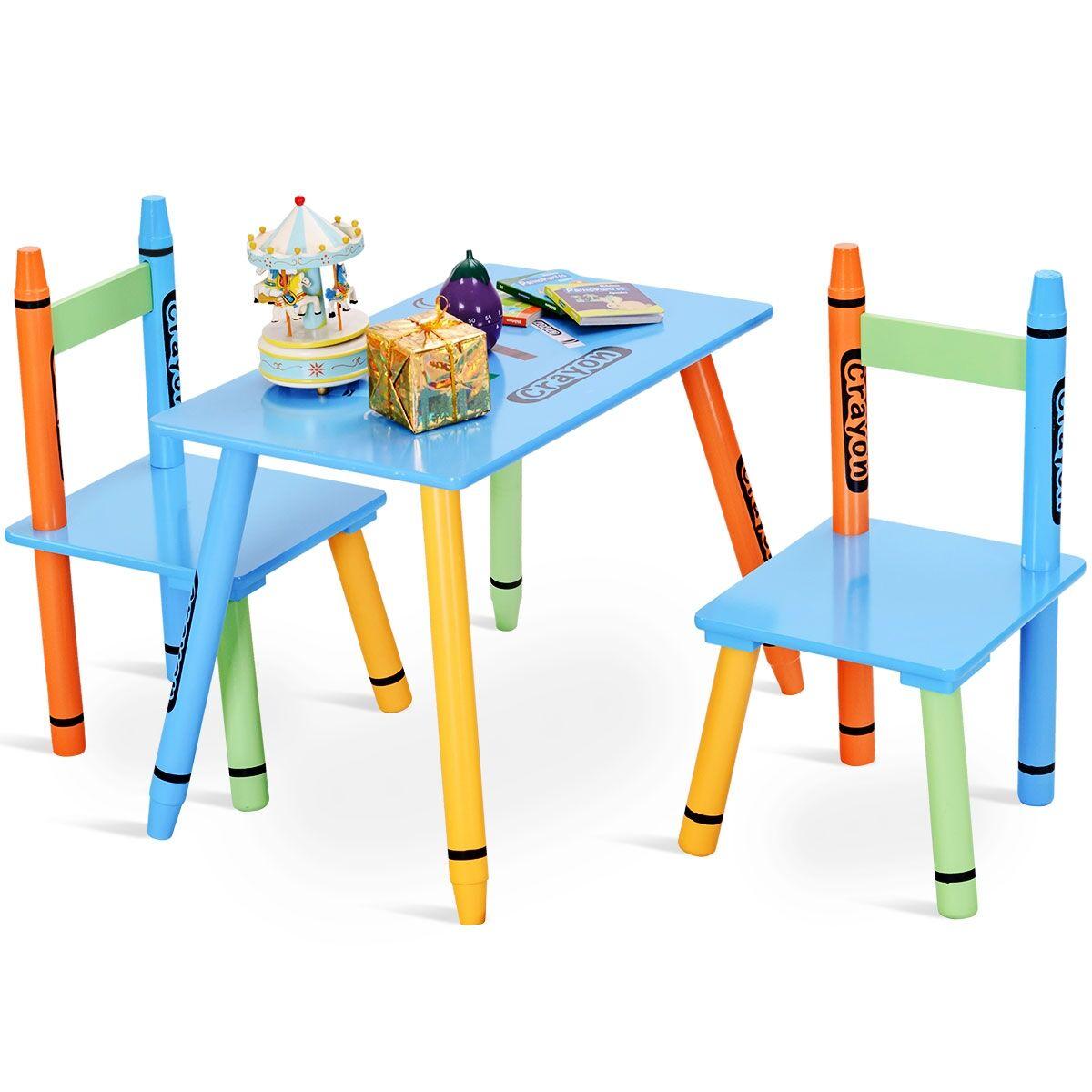 Costway Mesa y Sillas para Niños Madera Muebles Infantil 1 Mesa y 2 Sillas con Tabla y Asientos Escritorio