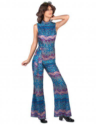 Disfraz años 70 azul mujer M