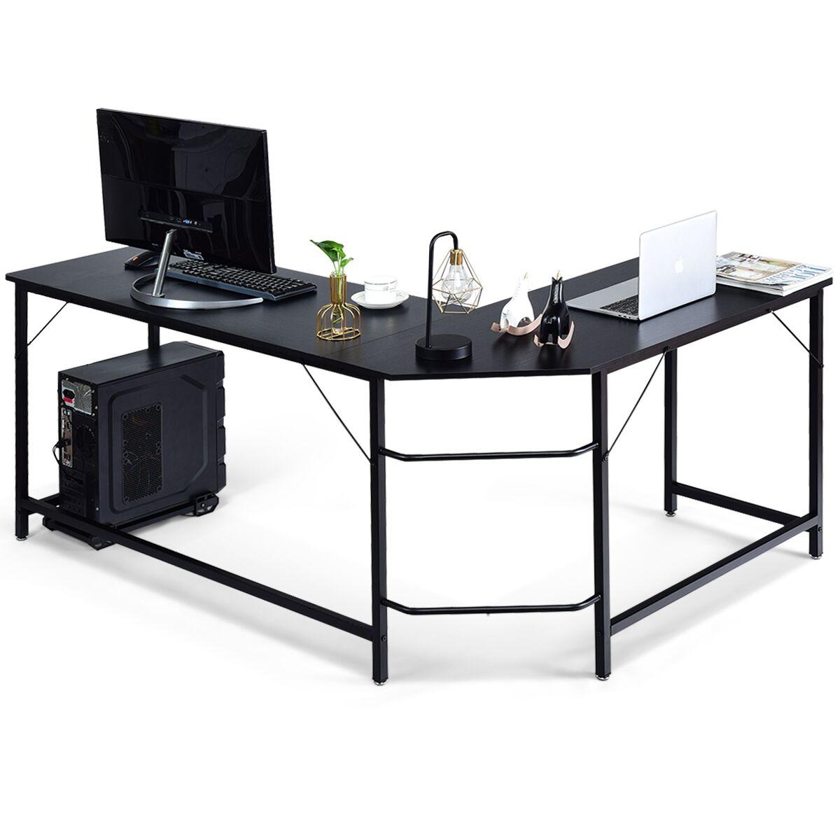 Costway Escritorio Esquinero para Ordenador en Hogar Oficina Mesa de Ordenador en Forma de L 168 x 125 x 74 cm Negro